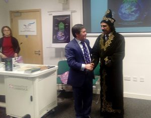 "Professor Orazaly Sabden from Kazakhstan presented national dress to Dr Shahid Qureshi, British writer and journalist after his book launch ""The Conceptual Strategy for Human Kind's Survival in 21st Century and Food Security"", at Cambridge University on 29 November 2016. Photo by Marat Akhmedjanov"