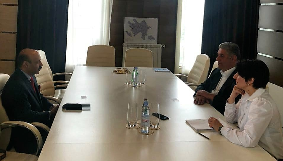 Dr Shahid Qureshi Chief Editor, The London Post meeting with Azad Rahimov Minister for Youth and Sports Republic of Azerbaijan, Samaya Mamamadova, Head of Press Department at the Ministry 13th April 2018 (photo by Lala Chalabi)